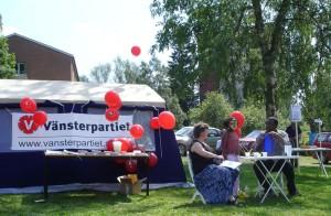 Vänsterpartiets tält vid Fest i Flen