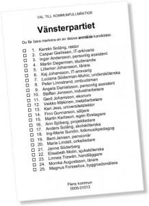 Vänsterpartiets valsedel i kommunalvalet