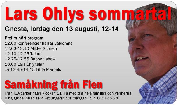 Annons för Lars Ohlys sommartal