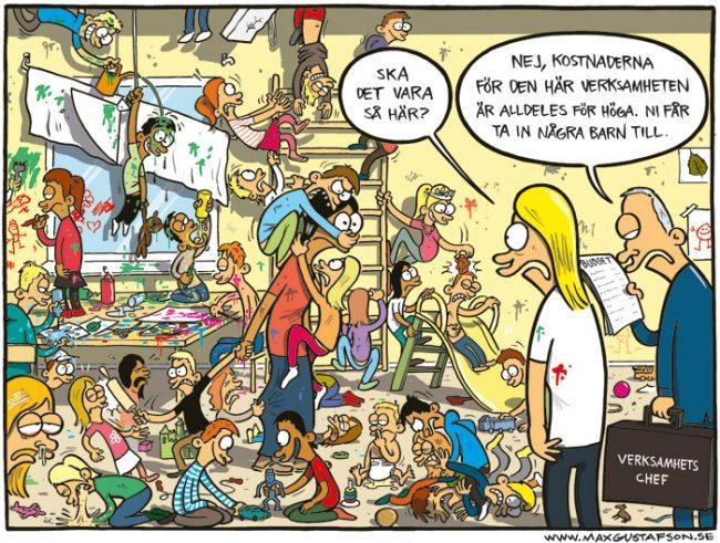 Bild: Teckning som beskriver låg personaltäthet i förskolan.